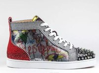 ingrosso stampe limitate-2018 New Season Red Bottom Sneakers Uomo Scarpe Luxury Print Silver Pik Pik No Limit RARE borchie e strass graffiti