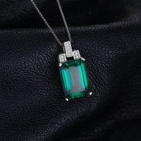 Wholesale russian gold jewelry - ewelry exchange engagement rings JewelryPalace Luxury 6ct Green Nano Russian Created Emerald Pendant Genuine 925 Sterling Silver Jewelry ...