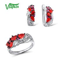 rubin stein ring frauen großhandel-VISTOSO Schmuck-Sets für Frau Erstellt Ruby Red Crystal Stones Schmuck-Set Ohrringe Ring 925 Sterling Silber Fein