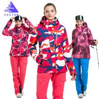 ingrosso scarpe da sci impermeabili delle signore-All'ingrosso- VECTOR Marca Ski Suit donna caldo sci impermeabili Set Ladies Outdoor Sport invernali Giacche da sci e pantaloni Snowboard
