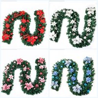Wholesale green garland white flowers for sale - Christmas Decoration Bar Artificial Flower Ribbon Garland Tree Ornaments White Dark Green Cane Pvc Simulation Flowers Party Supplies zt jj