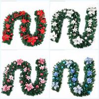 ingrosso nastri di natale-Decorazione natalizia Bar Fiore artificiale Nastro Ghirlanda Ornamenti per alberi Bianco Verde scuro Cane Pvc Simulazione Fiori Articoli per feste 49zt jj