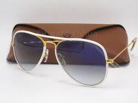 Wholesale uv light sun - Designer Classic Pilot Sunglasses Sun Glasses Eyewear For Mens Womes Full Color White 58mm Gradient Light Blue Glass UV Lenses Brown box