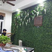 ingrosso copertura artificiale-Piante di siepi di giardino artificiali 25x25cm piante finte fogliame esterno recinzione per la decorazione di nozze 200pcs / lot