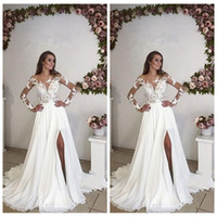 Wholesale long maternity summer dresses bohemian - Sheer Long Sleeves Lace Appliques Wedding Dresses Split Summer Bohemian 2018 Customized Long Bridal Gowns Plus Size Maternity Formal Wear