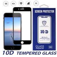 temperli gözlük dolu iphone toptan satış-10d temperli cam iphone 11 pro xs için max ekran koruyucu için iphone x 7 plus tam kavisli 9 h sertlik cam için iphone 6 8 artı