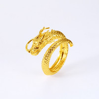 Wholesale 18k gold dragon ring - Dragon Ring Band Cool Mens Jewelry Hip Hop Yellow Gold Filled Classic Mens Accessories Size Adjust