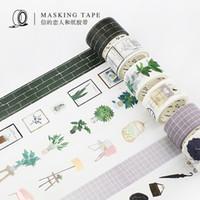 ingrosso mattone di pianta-15mm / 30mm Northern Europe Green Plant Wall Brick Modern Boy Girl Decorazione della casa Washi Tape DIY Planner Scrapbook Masking Tape 2016