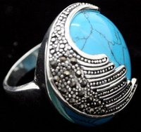 Wholesale rings marcasite - NEW Blue Turquoise Marcasite 925 Sterling Silver Ring Size 7 8 9