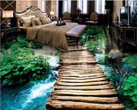 fondos de pantalla tridimensionales al por mayor-Papel pintado de la foto Baño de agua del puente 3D suelo pintura tridimensional suelo de vinilo baño