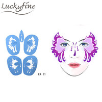 Wholesale Men Body Painting - Soft Face Body Paint Stencil Reusable Temporary Tattoo Template Airbrush Painting Stencils For Halloween Women Men Facial Design