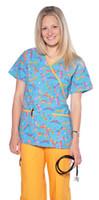 Wholesale medical scrubs uniforms - Women's Dragonfly Mock Wrap Print 2 Piece Scrubs Medical Nursing Uniform Set