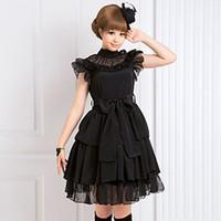 mini vestidos japoneses al por mayor-Personalizado 2018 Negro Stand Cuello Manga Corta Vestidos Lolita Estilo Japonés Volantes Mini Vestido Para Mujeres