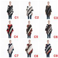 Wholesale blue fur scarf resale online - Women Striped Tassel Poncho Sweater Knit Scarf Wrap Loose Shawl Vintage Scarves Cloak Coat Girls Winter Warm Cape Clothes AAA1079