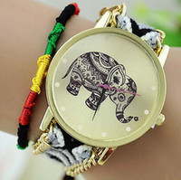 Wholesale relogio braid resale online - Colorful New Handmade Braided Women Elephant Wrist Watch Fashion Weave Rope Ladies Quarzt Watches Relogio Feminino