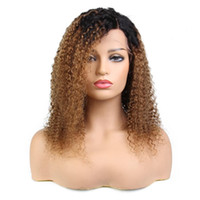 Wholesale virgin kinky curly ombre wig online - On sale a beauty unprocessed raw virgin remy human hair long ombre color kinky curly full lace cap wig for women