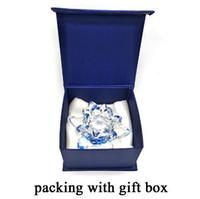 ingrosso figurine del partito di nozze-80 mm cristallo di quarzo fiore di loto artigianato fermacarte di vetro fengshui ornamenti figurine casa decorazione della festa nuziale regali souvenir.
