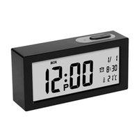 dijital saatli ışıklı toptan satış-Dijital Işıltılı LED Masa Saati Ile Çalar Saat Masa Saati Çevirme Nixie İzle Başucu Çalar Saat