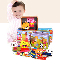 Wholesale wholesale wooden puzzles boxes - Baby Wooden Magnetic 3D Puzzle Cute Bear Dress Changing Jigsaw Puzzle Cartoon Animal Children Educatinal Toys with Iron Box