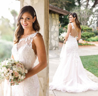 Wholesale one strap mermaid bridal gowns resale online - One Shoulder Boho Mermaid Wedding Dresses Vintage Full Lace Plus Size Backless Custom Made Western Country Bridal Gowns