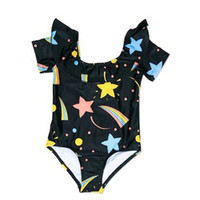 Wholesale one piece swimsuits for kids resale online - Lotus Leaf Short sleeve Romper for Girls One Pieces Swimsuit Summer Star Swimwear For Girls Kids Swimming Supplies Children Water Clothing