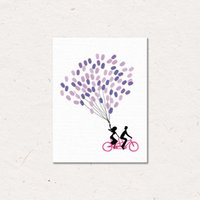 Wholesale Printed Picture Book - MYT DIY Couple By Bike Custom Fingerprint Picture Wedding Souvenir Guest Book Signature Picture Canvas Painting No Frame Sweet Wall Ornament