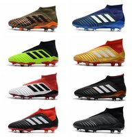 Wholesale world cup soccer shoes - Adidas X 18+ Soccer Cleats 2018 World Cup Predator 18 Firm Ground Cleats Mens Football Boots Paul Pogba Football Shoes Zapatos With Box