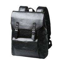 eski üniversite çantaları toptan satış-Rahat Erkekler PU Deri Sırt Çantası Seyahat Çantaları Erkek Koleji Okul Laptop Çantaları Erkek Kadın Sırt Çantası