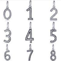 bilezik takılar numaraları toptan satış-Toptan Moda Alaşım metal Rhinestone Numaraları Dangle Tasarım Charms fit Avrupa DIY Bilezik Düşük Fiyat PED356