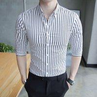 yarım ince toptan satış-2018 Kore Yeni Gömlek Erkekler Marka Sıcak Satış Çizgili Iş Erkek Gömlek Yarım Kollu Slim Fit Resmi Giyim Beyefendi Iş Gömlek