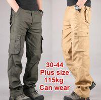 calça de carga marrom para homens venda por atacado-Homens Carga Calças Exército Militar Calça 100% Algodão Cáqui / Verde / Marrom / Preto Tamanho Grande 30-44 calças Compridas