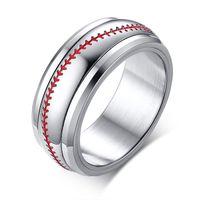 ingrosso gioielli di diamanti onyx-Spinning 8mm Red Stiching Baseball Sport Spinner Anelli in acciaio inossidabile