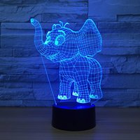 Wholesale Elephant Led - Elephant 3D Optical Illusion Lamp Night Light DC 5V USB Powered AA Battery Wholesale Dropshipping Free Shippin