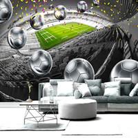 diseños de pintura para dormitorios. al por mayor-Mejoras para el hogar campo de fútbol 3D cartel telón de fondo decorativo pintura de pared personalizada mural papel pintado para sala de estar dormitorio diseño