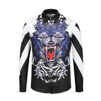 hombres camisa de algodón italiana al por mayor-Fashionshirt Nuevo lujo de alta calidad de algodón italiano marca de diseño animal flor 3D impreso de hombres Polo casual camisa de negocios con mangas largas