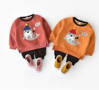 Baby Boys Girls Set di abbigliamento Designer Solid Seal Ricama T-Shirt  Pantaloni manica lunga Cappotto Pant Bambino Inverno Vestiti Tute LM43 0676ebbb4ed