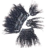 extensions de cheveux afro-américains noirs achat en gros de-Afro Kinky Clip bouclé vierge Clip épais dans l'extension de cheveux 100g noir 7pcs / lot Clip afro-américain dans l'extension de cheveux Afro