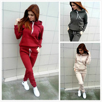 Wholesale Winter Yoga Pants - Autumn Winter Women Tracksuits Solid Color Hooded Suit Hoodies With Jogger Pants Casual Wear 2pcs Costume
