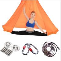 ingrosso swing yoga anti gravità-5 * 2.8 m yoga amaca anti gravità yoga sling fitness stretching letto altalena yoga strisce amache aeree in tessuto satinato accessori inclusi