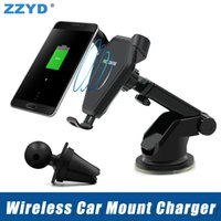 Wholesale qi wireless charging car - ZZYD Qi Wireless Car Mount Charger Phone Holder Stand Fast Quick Charging For Samsung S8 S8P Note 8 Qi-Enabled Device