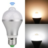 Wholesale infrared room - Motion Activated LED Bulb E27 5W 7W Aluminum Design PIR Infrared Detection Auto LED Lamp with Motion Sensor Night Light
