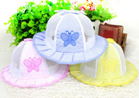 Wholesale pink newborn hats - New Fashion Newborn Anti-sun hats Girls Summer Visor Caps Trendy Baby Toddler Butterfly Net Hat Light Cozy 0-12M