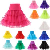 gelin kısa elbiseleri tutu toptan satış-Kısa Cadılar Bayramı Petticoat Kabarık Etek Vintage Düğün Gelin Petticoat için Wed Elbise Jüpon Rockabilly Tutu Kaya ve Bale Etek