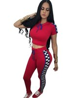 Wholesale ladies short yoga pant for sale - 2018 Summer Hooded Women Tracksuits Print Outfits Sweatshirts Short Sleeve Top and Long Pants Pieces Set Lady Sportwear Casual Playsuit