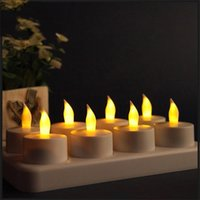 Wholesale tea lights candles wax online - 8 Seats Simulation Candles Led Light Rechargeable Candle Lights Small Tea Wax Smokeless Candlelight Lamp Hot Sale sh gg