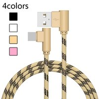 Wholesale micro usb charger double resale online - 90 Degree Double Elbow Charger Sync Data Cable Nylon Braided Android Micro USB Cable Type C USB C Charging Cables Opp Package