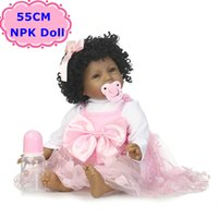 Wholesale realistic toy skin resale online - NPK New CM Black Skin Boneca Bebe s Soft Silicone Realistic Curls Hair Baby Doll Toys For Girls Birthday Xmas Gift