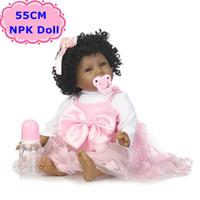ingrosso pelle giocattolo realistica-NPK Nuovo 55 CM Pelle Nera Boneca Bebe s Soft Silicone Realistico Riccioli Capelli Baby Doll Giocattoli Per Ragazze Compleanno / Regalo di Natale
