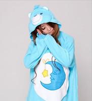 пижама для животных оптовых-Blue Moon Bear Onesies Unisex Adult Pajamas Sleeping Bear Cosplay Costumes Animal Onesie Sleepwear Jumpsuit