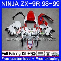 Wholesale 98 zx9r fairing red online - Body Red white frame For KAWASAKI NINJA ZX R ZX900 ZX9 R ZX9R HM ZX CC ZX R ZX R Fairing kit